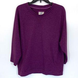 Arie 3/4 Sleeve Purple Crew Neck Sweater Sz L